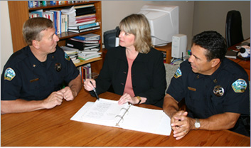 consulting with officers